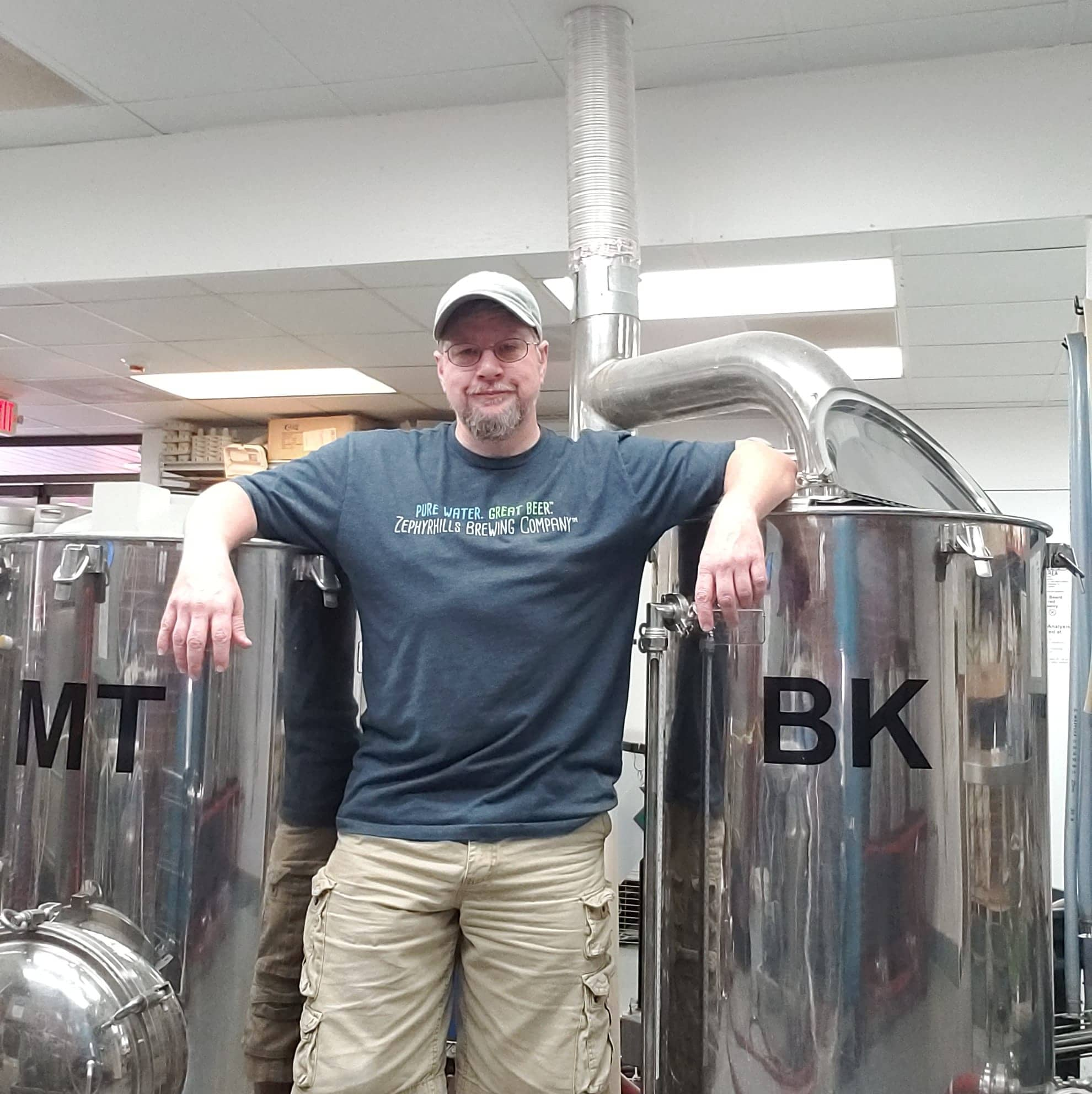 Cold Beer. A photo of Ted in the brewery